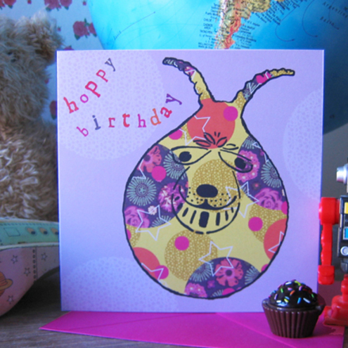 Space hopper birthday card