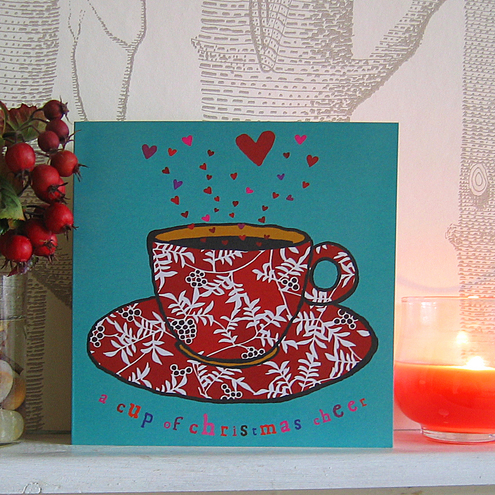 Tea cup Christmas card