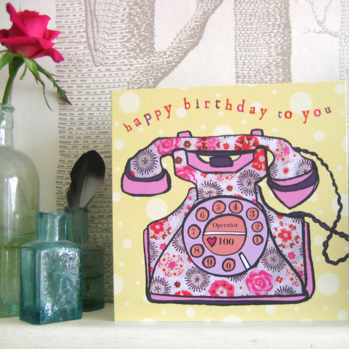 Vintage phone birthday card