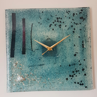 Large Square  Blue Fused Glass Wall Clock
