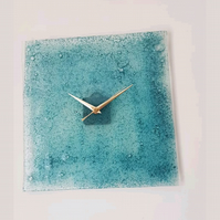 Large Square Blue Bubble Fused Glass Wall Clock