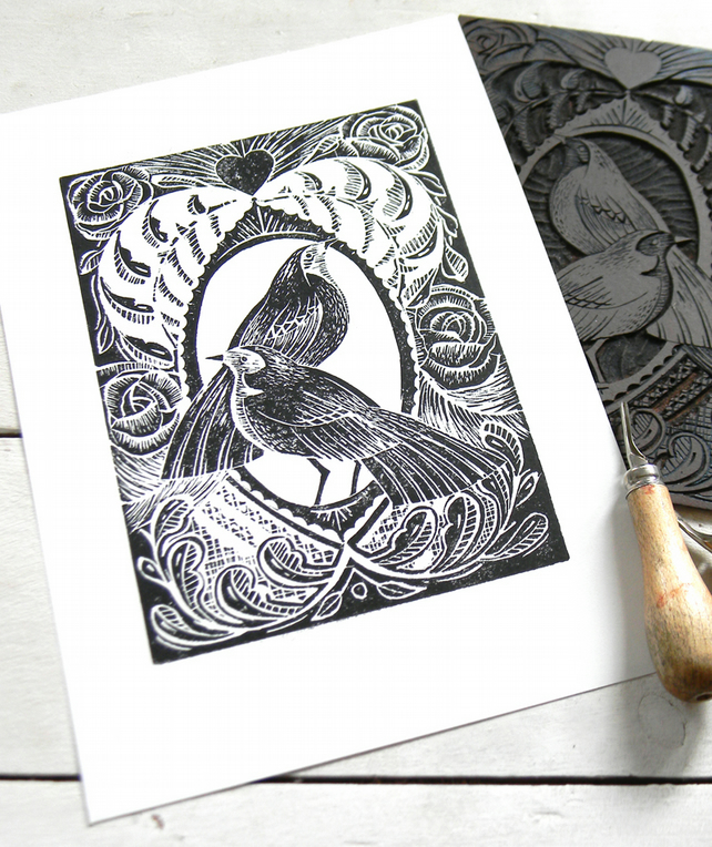 Love Birds Original Lino Cut Print Black and White PRINT SALE