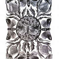 Moths and Thistles Original Lino Cut Print