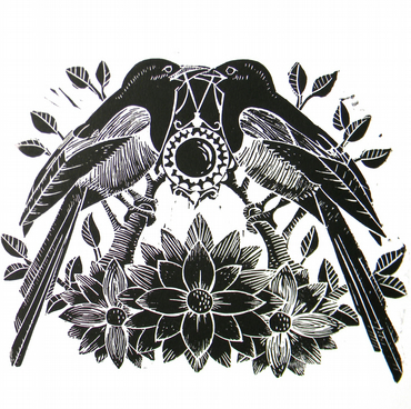 Two for Joy- Magpie Original Linocut Print-Black