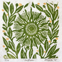 Sunflower Lino Print