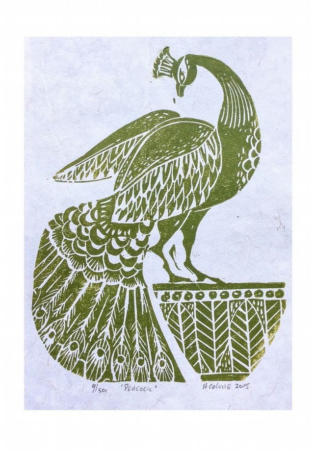 Peacock Lino Block Print Green PRINT SALE