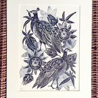 Peahen and Passion Flower limited edition lino cut print