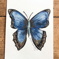Butterfly hand painted watercolour and lino print. Butterfly 4