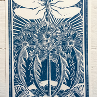 Dragonfly and Dandelions Blue Hand printed Linocut Print
