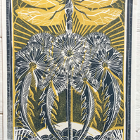 Dragonfly and Dandelions Blue and Yellow Hand printed Linocut Print