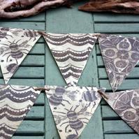 Lino print and wax paper bunting bees