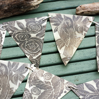 Lino print and wax paper bunting bird and roses