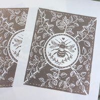 Little bee Lino print pale sepia
