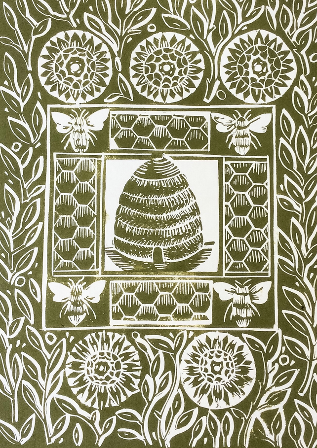 The Bee Hive Original Linocut Print, Green