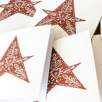Hand printed Lino Print Christmas Cards. Red stars. Pack of four