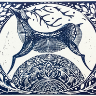 Winter Deer original Lino print