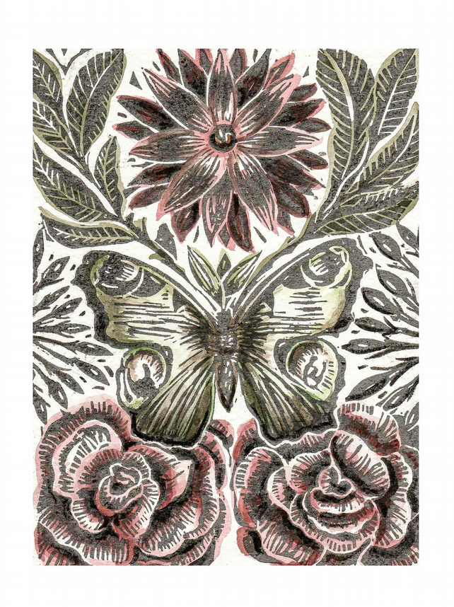 Butterfly and Roses Hand Coloured Lino Cut Print.