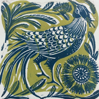 In his finery original linocut print teal and green