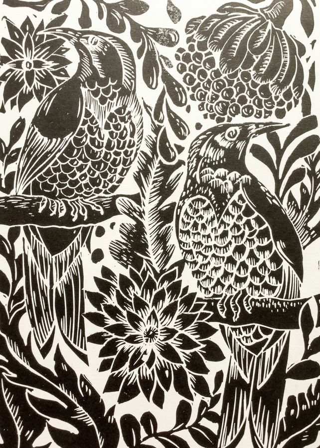 Original lino print birds black unframed