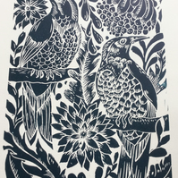 Original lino print birds Teal unframed