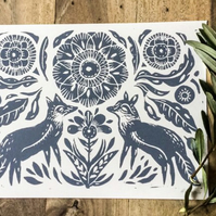 Folk foxes Lino print grey