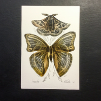 Lino print and wax insect collage golden