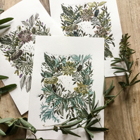 Linocut and watercolour floral wreath