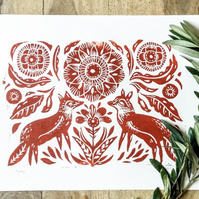 Folk foxes Lino print red