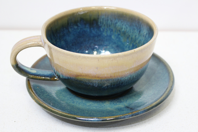Handmade cappuccino cup with Saucer