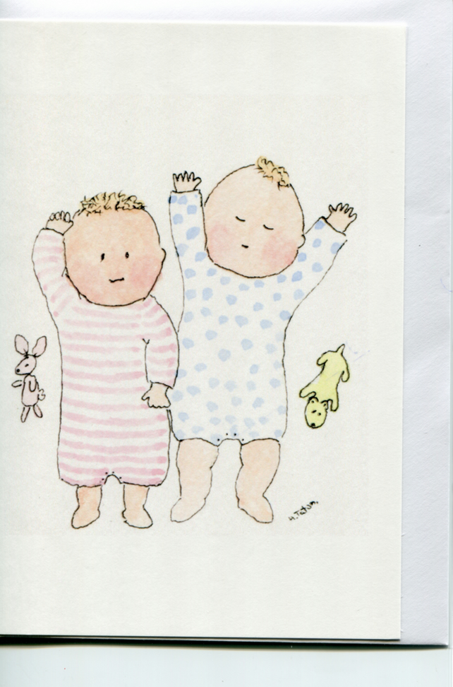Twins- Baby card for twins