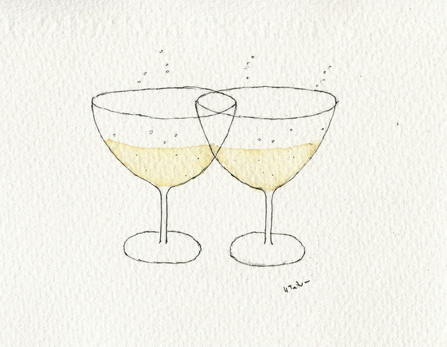 Champagne glasses handmade card- anniversary-wedding-engagement