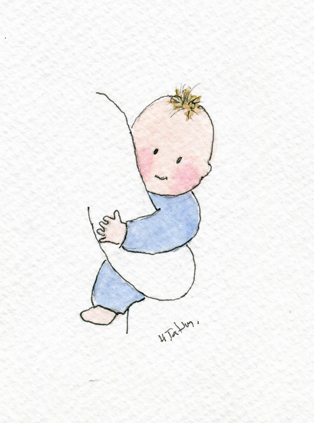 Baby boy card -New baby boy card- Handmade from an original watercolour.