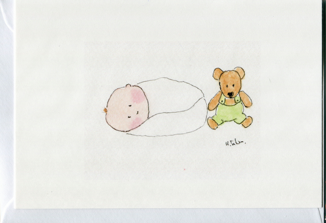 New baby card- Baby with teddy in dungarees.