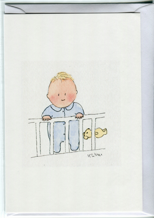 Little boy in his cot baby card, new baby cards, cards for new babies
