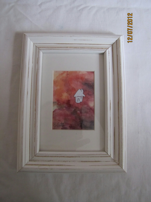"""Little white house"" original watercolour painting in white distressed frame"