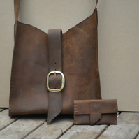 Brown Handmade Leather Tote Shoulder Bag with matching wallet- ANY COLOUR