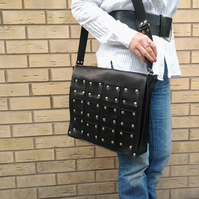black leather laptop bag, messenger bag, large leather bag