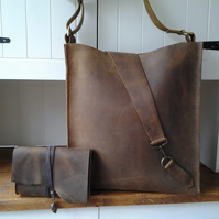 Large Brown leather bag  with matching clutch bag