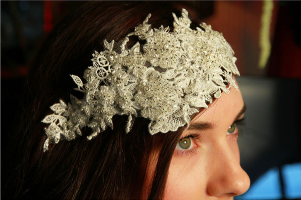 Vintage Style Lace Headdress with silver beading.