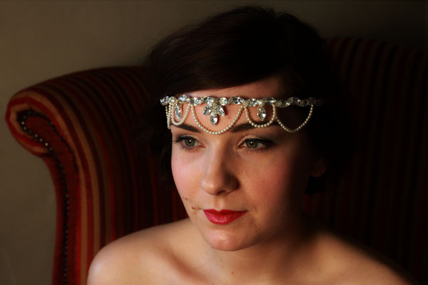Vintage Inspired Forehead band with pearl drops - Florence.