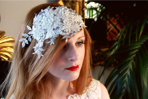 Vintage Style Lace Headdress with cream tone beading.