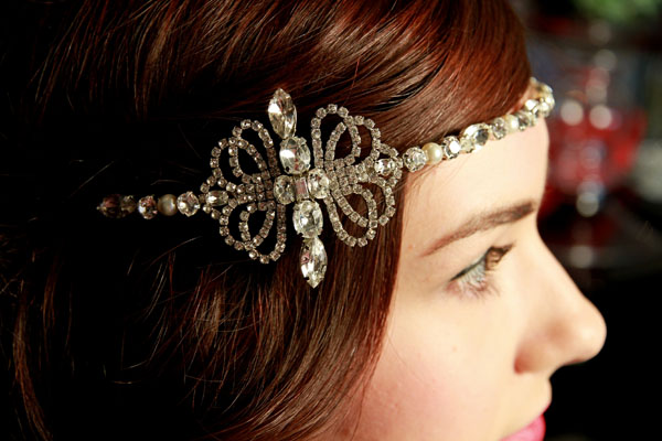 Vintage Inspired Forehead band with art deco style side detail - The Dietrich.