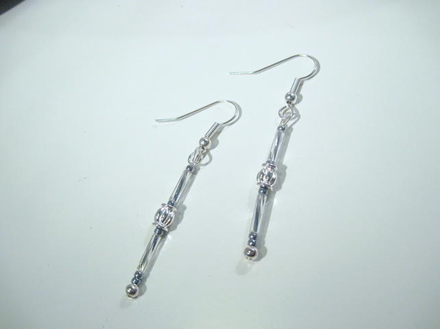Twisted glass water earrings