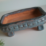 Slate blue dappled Bonsai Pot