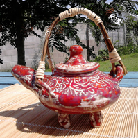 Textured Red and Willow Japanese Teapot
