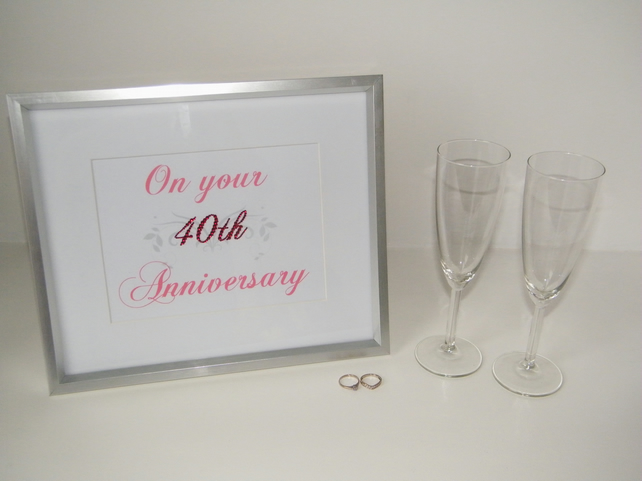 Stunning Diamante 40th (Ruby) Wedding Anniversary Gift