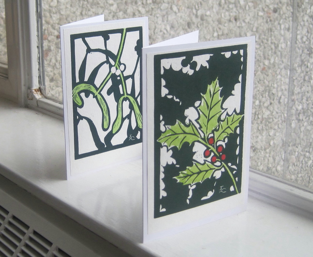 Holly and mistletoe 2 linocut Christmas cards