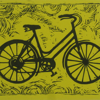 bicycle 2 colour linocut