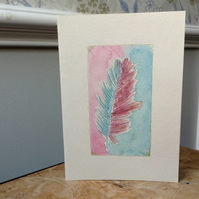 Hand painted card pink & green feather