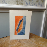 Hand painted card feather design blue & orange